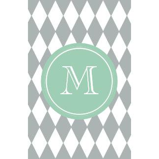 Gray White Harlequin Pattern Mint Green Monogram Wall Calendar