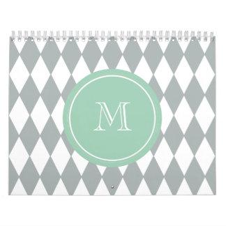 Gray White Harlequin Pattern, Mint Green Monogram Wall Calendar