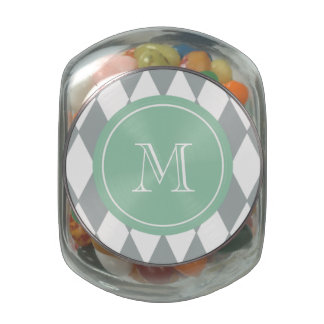 Gray White Harlequin Pattern, Mint Green Monogram Jelly Belly Candy Jar