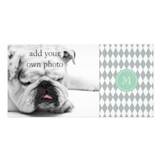 Gray White Harlequin Pattern, Mint Green Monogram Card