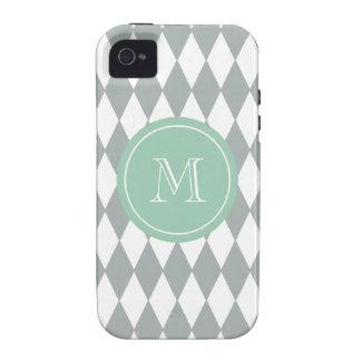 Gray White Harlequin Pattern, Mint Green Monogram Vibe iPhone 4 Case