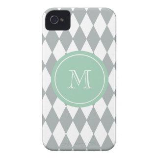 Gray White Harlequin Pattern, Mint Green Monogram iPhone 4 Covers