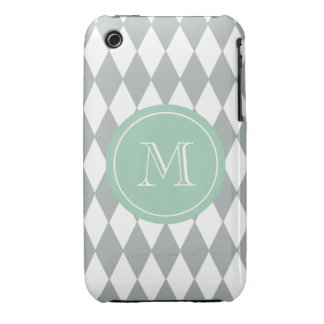 Gray White Harlequin Pattern, Mint Green Monogram Case-Mate iPhone 3 Cases