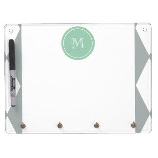 Gray White Harlequin Pattern Mint Green Monogram Dry-Erase Whiteboards