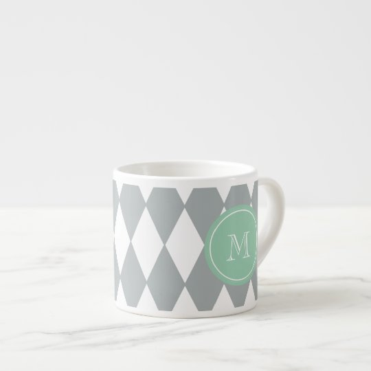Gray White Harlequin Pattern, Mint Green Monogram Espresso Cup