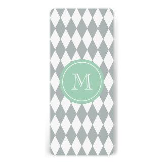 Gray White Harlequin Pattern, Mint Green Monogram Personalized Invites