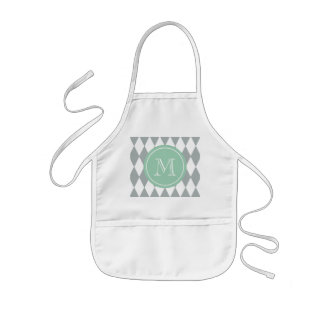 Gray White Harlequin Pattern, Mint Green Monogram Kids' Apron