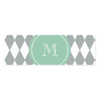 Gray White Harlequin Pattern, Mint Green Monogram Mini Business Card