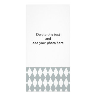 Gray White Harlequin Pattern Photo Card