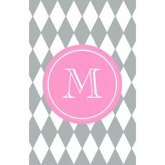 Gray White Harlequin Pattern Pink Monogram Calendars