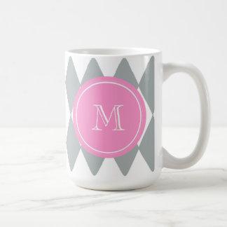 Gray White Harlequin Pattern, Pink Monogram Coffee Mug