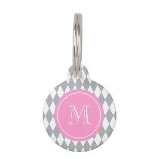 Gray White Harlequin Pattern, Pink Monogram Pet Nametag