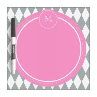 Gray White Harlequin Pattern Pink Monogram Dry Erase White Board
