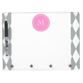 Gray White Harlequin Pattern Pink Monogram Dry Erase Whiteboards
