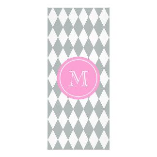 Gray White Harlequin Pattern, Pink Monogram Invitations