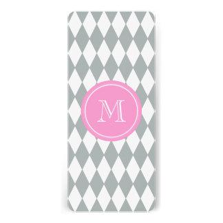 Gray White Harlequin Pattern, Pink Monogram Announcement