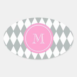 Gray White Harlequin Pattern, Pink Monogram Oval Sticker