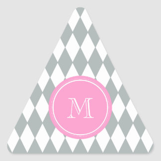 Gray White Harlequin Pattern, Pink Monogram Triangle Sticker