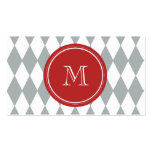 Gray White Harlequin Pattern, Red Monogram Business Card Template