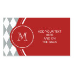 Gray White Harlequin Pattern, Red Monogram Business Cards