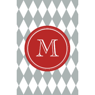 Gray White Harlequin Pattern Red Monogram Wall Calendar