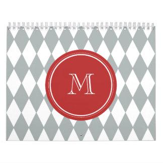 Gray White Harlequin Pattern, Red Monogram Wall Calendar