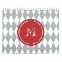 Gray White Harlequin Pattern, Red Monogram Calendar