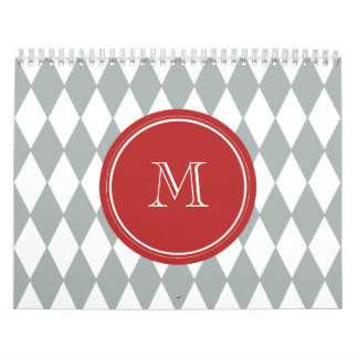 Gray White Harlequin Pattern, Red Monogram Calendar