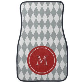 Gray White Harlequin Pattern, Red Monogram Car Floor Mat