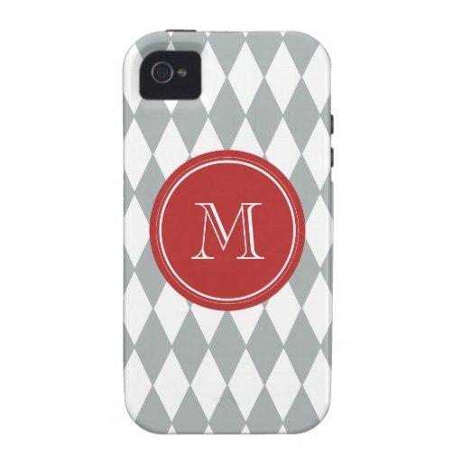 Gray White Harlequin Pattern, Red Monogram iPhone 4/4S Covers