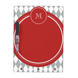 Gray White Harlequin Pattern Red Monogram Dry-Erase Boards