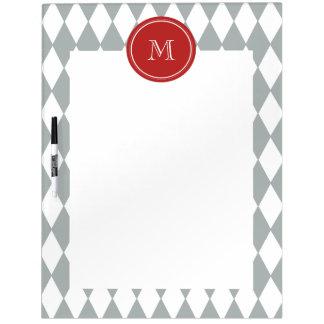Gray White Harlequin Pattern Red Monogram Dry Erase Whiteboards