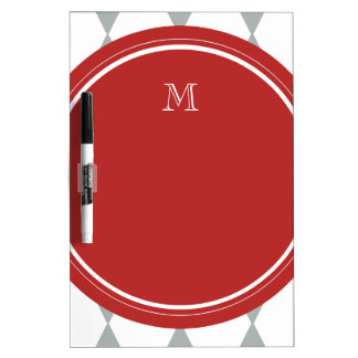 Gray White Harlequin Pattern Red Monogram Dry-Erase Board