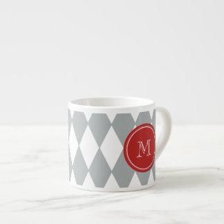Gray White Harlequin Pattern, Red Monogram Espresso Cup