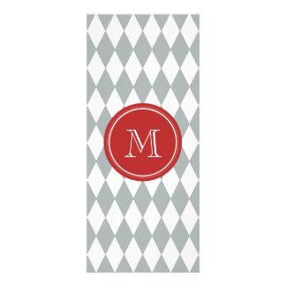 Gray White Harlequin Pattern, Red Monogram Invitations