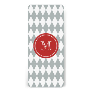 Gray White Harlequin Pattern, Red Monogram Personalized Announcement