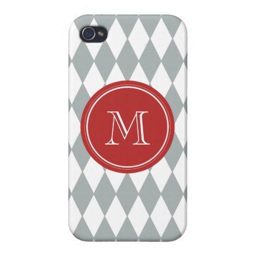 Gray White Harlequin Pattern, Red Monogram iPhone 4/4S Cases