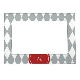 Gray White Harlequin Pattern, Red Monogram Magnetic Frame