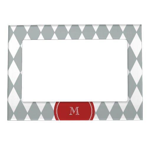 Gray White Harlequin Pattern, Red Monogram Magnetic Frames