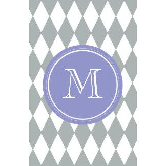 Gray White Harlequin Pattern Violet Monogram Wall Calendars
