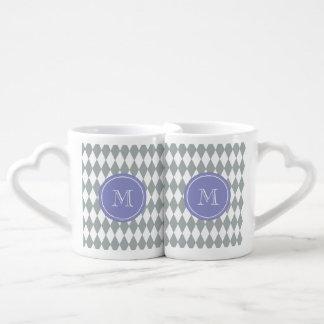 Gray White Harlequin Pattern, Violet Monogram Coffee Mug Set