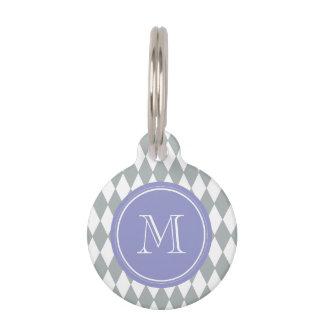 Gray White Harlequin Pattern, Violet Monogram Pet Name Tags