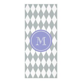 Gray White Harlequin Pattern, Violet Monogram Personalized Invitation