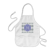 Gray White Harlequin Pattern, Violet Monogram Kids' Apron