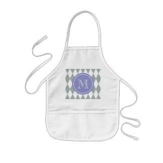 Gray White Harlequin Pattern, Violet Monogram Kids' Apron