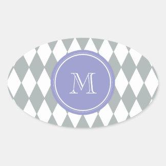 Gray White Harlequin Pattern, Violet Monogram Oval Sticker