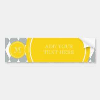 Gray White Harlequin Pattern, Yellow Monogram Bumper Sticker