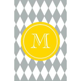Gray White Harlequin Pattern Yellow Monogram Calendar