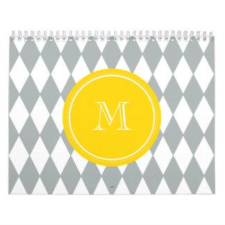 Gray White Harlequin Pattern, Yellow Monogram Calendar