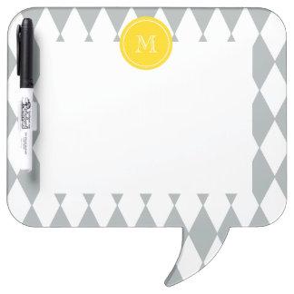 Gray White Harlequin Pattern Yellow Monogram Dry Erase Boards